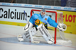 10.11.2013, Olympiaeisstadion, Muenchen, GER, Deutschlandcup 2013, USA vs Deutschland, im Bild Dimitri Paetzold, Goalkeeper, Team GER, Einzelbild, Aktion // during the Deutschlandcup 2013 ice hockey match between USA and Germany at the Olympiaeisstadion in Muenchen, Germany on 2013/11/10. EXPA Pictures © 2013, PhotoCredit: EXPA/ Eibner-Pressefoto/ Buthmann<br /> <br /> *****ATTENTION - OUT of GER*****