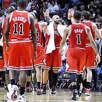 06 March 2010: Chicago Bulls power forward Carlos Boozer (5) celebrates with his teammates during the Chicago Bulls 87-86 victory over the Miami Heat at the AmericanAirlines Arena, Miami, Florida, USA.