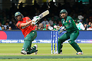 Mohammad Mahmudullah Riyad of Bangladesh hits the ball to the boundary for four runs during the ICC Cricket World Cup 2019 match between Pakistan and Bangladesh at Lord's Cricket Ground, St John's Wood, United Kingdom on 5 July 2019.