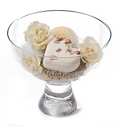 glass bowl with scented soaps