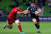 MELBOURNE, AUSTRALIA - APRIL 06: Jermaine Ainsley of the Rebels runs the ball at round 8 of The Super Rugby match between Melbourne Rebels and Sunwolves on April 06, 2019 at AAMI Park in VIC, Australia. (Photo by Speed Media/Icon Sportswire)