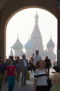 Entrance Gate to Red Square, view towards St. Basil's Cathedral...A river cruise from Moscow to St. Petersburg aboard MS Kazan, the most luxurious vessel (four star plus) operating in Russia. It is run by Austrian River Cruises under strictly Western standards, chartered - amongst others - by Club 50, a senior's travel agency based in Vienna.