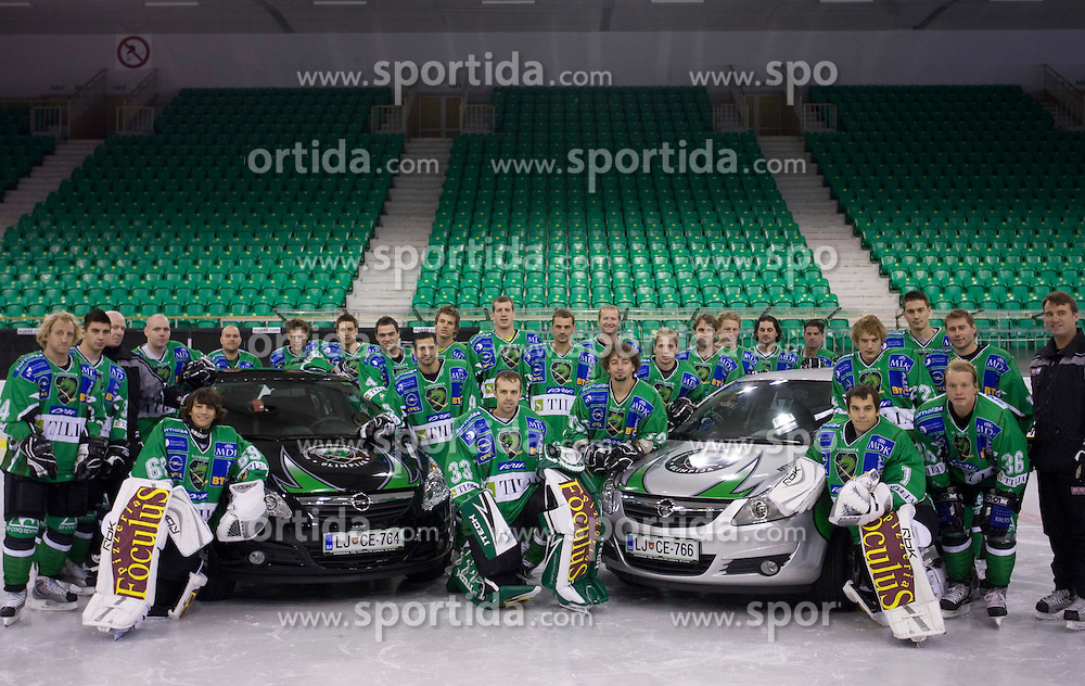 Group photo of HDD Tilia Olimpija before new season 2008/2009,  on September 17, 2008 in Arena Tivoli, Ljubljana, Slovenia. (Photo by Vid Ponikvar / Sportal Images)