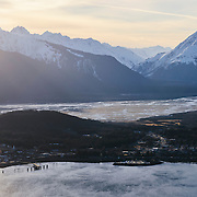 Aerial view of Haines, Alaska at sunset.