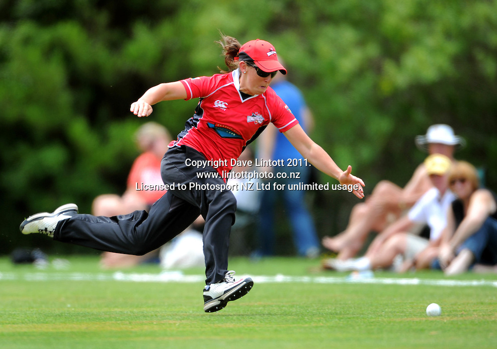 Canterbury fielder Maria Fahey is beaten for a boundary. Women's Twenty20 cricket - Wellington Blaze v Canterbury Magicians at Barton Oval, Upper Hutt, Wellington on Tuesday, 4 January 2011. Photo: Dave Lintott / photosport.co.nz