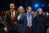 Hempstead, New York, USA. January 1, 2018. L-R, Congressman TOM SUOZZI, Nassau County Supervisor LAURA GILLEN, NY Senator TODD KAMINSKY, Congresswoman KATHLEEN RICE are on stage shortly before Swearing-In of Laura Gillen as Hempstead Town Supervisor, and Sylvia  Cabana as Hempstead Town Clerk are held at Hofstra University.