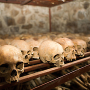 Skulls of the victims of the Nyamata church massacre