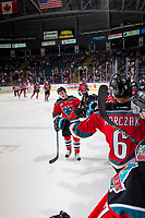 KELOWNA, CANADA - OCTOBER 28: Kyle Topping #24 of the Kelowna Rockets skates past the bench and fist bumps teammates to celebrate a goal against the Prince George Cougars on October 28, 2017 at Prospera Place in Kelowna, British Columbia, Canada.  (Photo by Marissa Baecker/Shoot the Breeze)  *** Local Caption ***