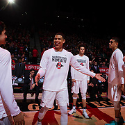 17 January 2018: San Diego State Aztecs guard Trey Kell (3) takes the court prior to taking on Fresno State. San Diego State leads Fresno State 40-36 at halftime at Viejas Arena. <br /> More game action at www.sdsuaztecphotos.com