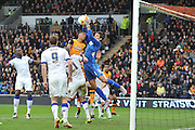 Marco Silvestri (1) of Leeds United takes ball safe from Hull City striker Abel Hernandez (9)  during the Sky Bet Championship match between Hull City and Leeds United at the KC Stadium, Kingston upon Hull, England on 23 April 2016. Photo by Ian Lyall.