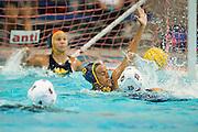 Tsegenet Awoke (16) attempts to block a Monta Vista shot during a girl's varsity water polo match at Milpitas High School in Milpitas, California, on September 6, 2016. (Stan Olszewski/SOSKIphoto)