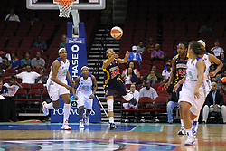 June 3, 2012; Newark, NJ, USA; Indiana Fever guard Briann January (20) passes the ball downcourt during the second half at the Prudential Center. The Liberty defeated the Fever 87-72.