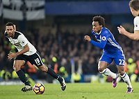Football - 2016/2017 Premier League - Chelsea V Tottenham Hotspur<br /> <br /> Willian of Chelsea and Mousa Dembele of Tottenham  in a race to reach the ball at Stamford Bridge.<br /> <br /> COLORSPORT/DANIEL BEARHAM
