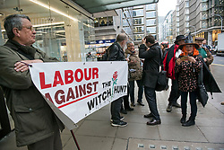 © Licensed to London News Pictures. 22/01/2018. London, UK. The campaign group LAW (Labour Against the Witch-hunt) outside Labour Party headquarters ahead of an NEC (National Executive Committee) meeting. The group are campaigning against the suspension of party members over  alleged antisemitism. Photo credit: Ben Cawthra/LNP