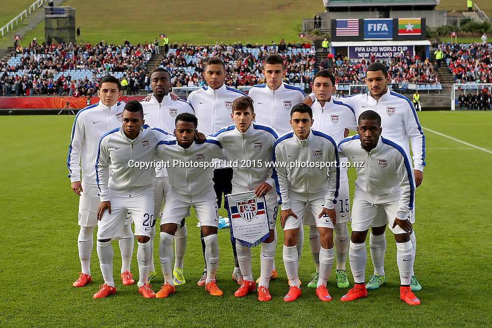 Starting lineup USA in the Group A FIFA U20 World Cup Match between USA and Myanmar at Northlands Event Centre, Whangarei, Northland, New Zealand, Saturday, May 30, 2015. Copyright photo: David Rowland / www.photosport.co.nz