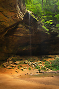 Ash Cave, formed from Blackhand Sandstone it is the large recessed cave in the state. Named after the huge pile of ashes found under the shelter by early settlers. Hocking Hills State Park Ohio