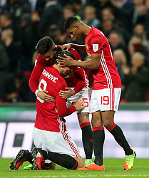 Marcus Rashford and Marcos Rojo of Manchester United celebrate with Zlatan Ibrahimovic at full time - Mandatory by-line: Matt McNulty/JMP - 26/02/2017 - FOOTBALL - Wembley Stadium - London, England - Manchester United v Southampton - EFL Cup Final