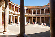 Courtyard inside the Palacio de Carlos V, Palace of Charles V, Alhambra complex, Granada, Spain
