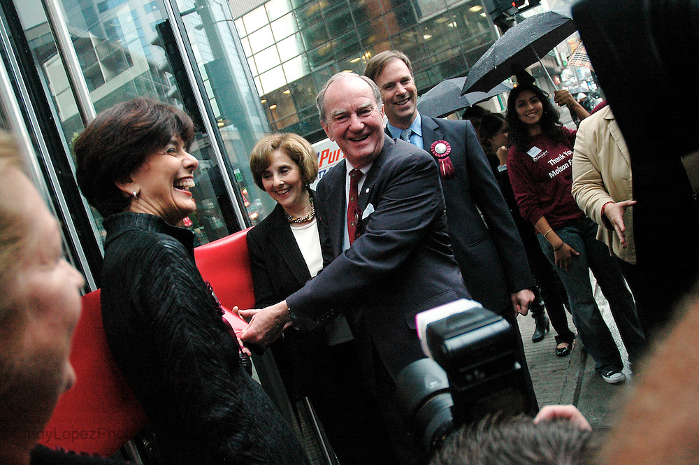 Eric Molson (centred) along with Quebec's Minister of Education, Michelle Courchesne (far left) and Judith Woodsworth, Concordia's President and Vice-Chancellor (left) celebrate the opening of the John Molson Business School. The Molson family were the main contributors to the project which will accommodate Concordia's business students. (Published in The Concordian, 2009)
