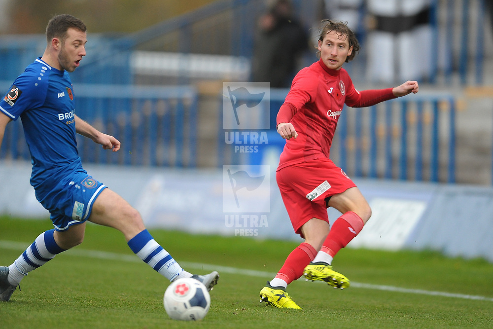 TELFORD COPYRIGHT MIKE SHERIDAN James McQuilkin during the Vanarama National League Conference North fixture between Curzon Asthon and AFC Telford United on Saturday, November 9, 2019.<br /> <br /> Picture credit: Mike Sheridan/Ultrapress<br /> <br /> MS201920-028