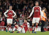 Football - 2017 / 2018 UEFA Europa League - Semi-Final, First Leg: Arsenal vs. Atletico Madrid<br /> <br /> Aaron Ramsey (Arsenal FC) consoles Shkodran Mustafi (Arsenal FC) whose error led to the equalising goal at The Emirates.<br /> <br /> COLORSPORT/DANIEL BEARHAM