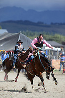 Man trying to ride a bucking bronco horse at the Te Anau rodeo.