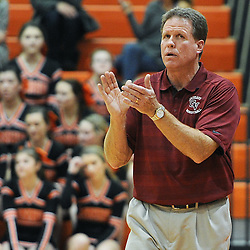 TOM KELLY IV &mdash; DAILY TIMES<br /> Garnet Valley's head coach claps near the bench during the Garnet Valley at Marple Newtown boys basketball game on Tuesday night December 9, 2014.