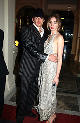 MISS ANOUSKA GERHAUSER daughter of Tamara Beckwith and MR JACOBI ANSTRUTHER-GOUGH-CALTHORPE at Andy & Patti Wong's Chinese New Year party to celebrate the year of the Rooster held at the Great Eastern Hotel, Liverpool Street, London on 29th January 2005.  Guests were invited to dress in 1920's Shanghai fashion.<br />