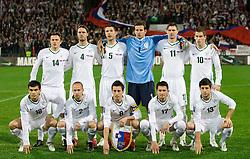 Aleksander Radosavljevic (18), Zlatko Dedic (14), Miso Brecko (2), Marko Suler (4), Bostjan Cesar (5), Robert Koren (8), Samir Handanovic (1), Andraz Kirm (17), Milivoje Novakovic (11), Valter Birsa and Bojan Jokic (13) before FIFA World Cup South Africa 2010 Qualifying Second Play off match between Slovenia and Russia, on November 18, 2009, in Stadium Ljudski vrt, Maribor, Slovenia. Slovenia won 1:0 and qualified for the FIFA World Championships 2010. (Photo by Vid Ponikvar / Sportida)