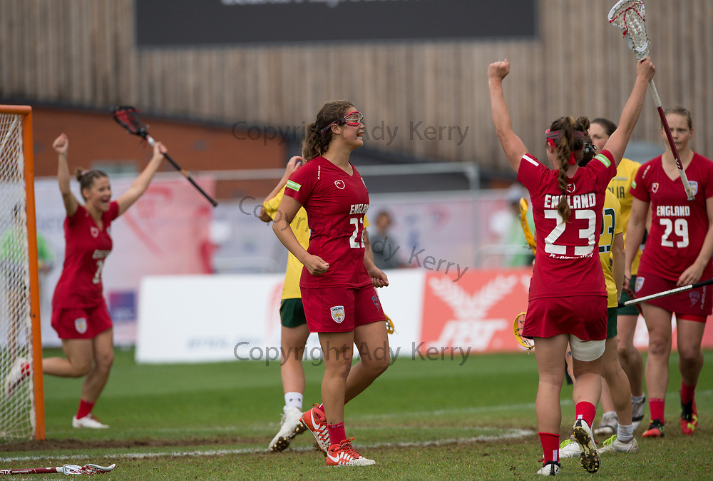 England's Olivia Hompe celebrates scoring against Australia in the bronze medal match which they won with a Golden Goal in extra time at the 2017 FIL Rathbones Women's Lacrosse World Cup, at Surrey Sports Park, Guildford, Surrey, UK, 22nd July 2017.