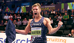France's Kevin Mayer celebrates winning the Men's Heptathlon during day three of the 2018 IAAF Indoor World Championships at The Arena Birmingham.