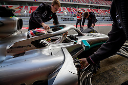 February 19, 2019 - Montmelo, Barcelona, Catalonia, Spain - Barcelona-Catalunya Circuit, Montmelo, Catalonia, Spain - 19/02/2018: Lewis Hamilton of Mercedes AMG Petronas Formula One Team with new W10 car  into the Pitlane during second journey of F1 Test Days in Montmelo circuit. (Credit Image: © Javier Martinez De La Puente/SOPA Images via ZUMA Wire)