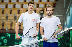 Hubert Hurkacz of Poland  and Tom Kocevar Desman of Slovenia playing singles during the Day 2 of Davis Cup 2018 Europe/Africa zone Group II between Slovenia and Poland, on February 4, 2018 in Arena Lukna, Maribor, Slovenia. Photo by Vid Ponikvar / Sportida