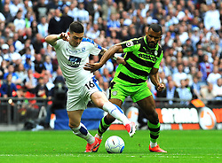 Jack Dunn of Tranmere Rovers competes with Daniel Wishart of Forest Green Rovers - Mandatory by-line: Nizaam Jones/JMP - 14/05/2017 - FOOTBALL - Wembley Stadium- London, England - Forest Green Rovers v Tranmere Rovers - Vanarama National League Final