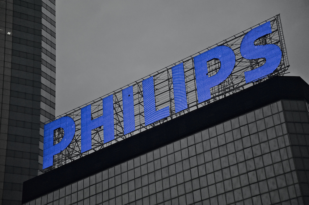 Philips corporation sign atop Immigration Tower, Hong Kong; at the time of its installation it was the largest LED sign in Hong Kong