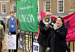 © Licensed to London News Pictures. 03/12/2013; Bristol, UK.  Dominique Lauterberg from UCU National Executive Council speaks at a rally for Further and Higher Education staff who are on strike nationally calling for pay. Union members met for a rally on College Green in Bristol. 03 December 2013.<br /> Photo credit : Simon Chapman/LNP