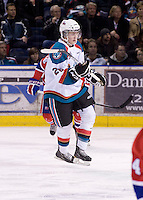 KELOWNA, CANADA, DECEMBER 27: Cole Linaker #26 of the Kelowna Rockets skates on the ice against the Spokane Chiefs at the Kelowna Rockets on December 7, 2011 at Prospera Place in Kelowna, British Columbia, Canada (Photo by Marissa Baecker/Getty Images) *** Local Caption ***
