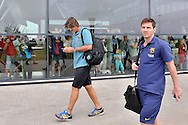 Lionel Messi of Barcelona while arrived on Lech Walesa Airport in Gdansk, Poland.<br /> A few hours before friendly match between Lechia Gdansk and FC Barcelona.<br /> <br /> Poland, Gdansk, July 30, 2013<br /> <br /> Picture also available in RAW (NEF) or TIFF format on special request.<br /> <br /> For editorial use only. Any commercial or promotional use requires permission.<br /> <br /> Photo by © Adam Nurkiewicz / Mediasport