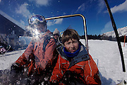 Italy, Madonna di Campiglio, tourists on the snowscooter at Malga Ritordo