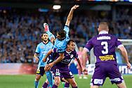 April 29, 2017: Sydney FC forward Bobo (9) gets over Perth Glory Richard GARCIA (11) at Semi Final one of the 2016/17 Hyundai A-League match, between Sydney FC and Perth Glory, played at Allianz Stadium in Sydney.