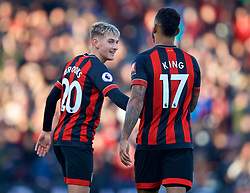 BOURNEMOUTH, ENGLAND - Sunday, November 25, 2018: AFC Bournemouth's Joshua King (#17) celebrates scoring the equalising first goal with team-mate David Brooks who assisted during the FA Premier League match between AFC Bournemouth and Arsenal FC at the Vitality Stadium. (Pic by David Rawcliffe/Propaganda)