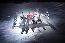 March 9, 2018 - Pyeongchang, South Korea - The flag of the Republic of Korea is carried into Opening Ceremony for the 2018 Pyeongchang Winter Paralympic Games March 9, 2018. Photo by Mark Reis (Credit Image: © Mark Reis via ZUMA Wire)