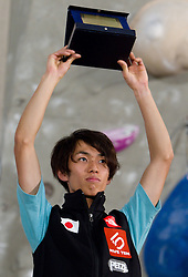 Men Overall 2010  third placed Sachi Amma of Japan at Trophy ceremony during Final IFSC World Cup Competition in sport climbing Kranj 2010, on November 14, 2010 in Arena Zlato polje, Kranj, Slovenia. (Photo By Vid Ponikvar / Sportida.com)