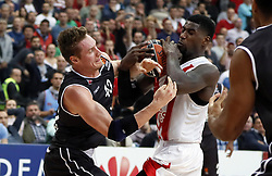 BELGRADE (SERBIA), Nov. 2, 2017  Brose Bamberg's Leon Radosevic (L) vies with Crvena Zvezda's Mathias Lessort (R) during Euroleague basketball match between Crvena Zvezda and Brose Bamberg in Belgrade, Serbia on Nov. 2. 2017. Brose Bamberg won 75:69  (Credit Image: © Predrag Milosavljevic/Xinhua via ZUMA Wire)