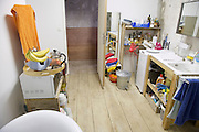 bathroom with fruit and cooking material during renovation of house