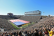 November 10 2012: Veterans hold up a giant flag on the field to remember Veterans Day before the start of the NCAA football game between the Purdue Boilermakers and the Iowa Hawkeyes at Kinnick Stadium in Iowa City, Iowa on Saturday, November 10, 2012. Purdue defeated Iowa 27-24.
