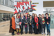 07/03/2013. WOMEN AT THE TOP: Ruby Wax, Sandi Toksvig, Alice Walker and Jude Kelly take to the roof of the Royal Festival Hall to mark International Women' Day and launch the Southbank Centre's WOW - WOMEN OF THE WORLD FESTIVAL. WOW is the Southbank festival where women and men of all ages and backgrounds celebrate women's achievements and discuss the obstacles they face across the world..L-r: Singer-songwriter Angelique Kidjo, Psychoanalyst & Writer Susie Orbach, Singer Seaming To, Southbank Artistic Director Jude Kelly, Singer & Conductor Barbara Hannigan, Writer Alice Walker, Writer & Activist Naomi Wolf, Filmaker Pratibha Palmer, Comedian Bridget Christie, QC & MP Helena Kennedy, Director of Liberty Shami Chakrabarti, Comedian, Author and Broadcaster Sandi Toksvig, and Comedian and Writer Ruby Wax..