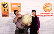 "Berlin, ITB 2018. ITB Book Award ceremony. Heimo Aga + Nicole Schmidt, winners of the award ""bet travel cookbook"" with ""Teigtaschen"""