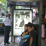 South America, Uruguay, Canelones, Montevideo, downtown, kids waiting for the bus