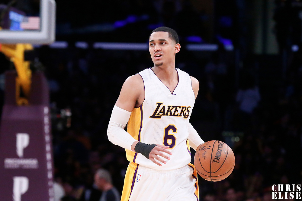 26 March 2016: Los Angeles Lakers guard Jordan Clarkson (6) brings the ball up court during the Portland Trail Blazers 97-81 victory over the Los Angeles Lakers, at the Staples Center, Los Angeles, California, USA.